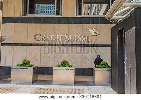 Canary Wharf London. 23 May 2019. A View Of The Credit Suisse Building In Canary Wharf In London