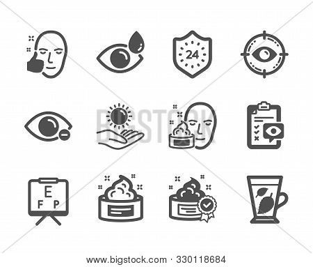 Set Of Medical Icons, Such As Eye Target, Face Cream, Healthy Face, Vision Board, Sun Protection, Ey