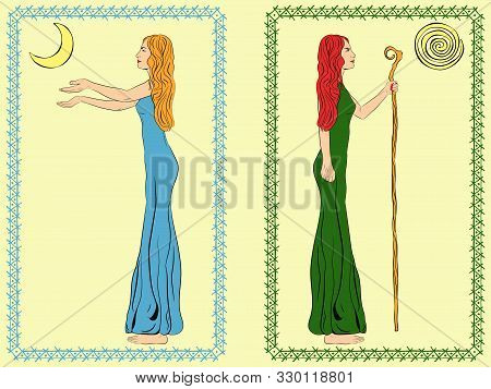 Two Women. A Woman With A Staff, Stick. A Woman With Outstretched Arms. Goddess Of The Moon And Godd