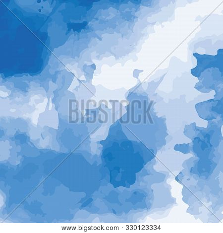 Vector Illustration Of Blue Watercolor. Abstract Background For Design. Watercolor Stains For Backgr