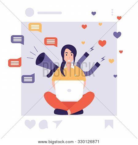 Network Social Media Marketing Promotion. Influencer Woman, Megaphone And Magnet. Flat Vector Cartoo