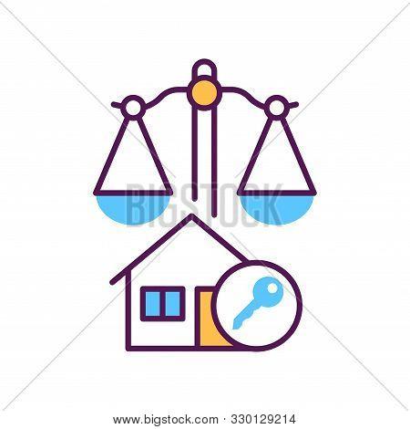 Arbitration Court Line Color Icon. Business Property Concept. Real Estate Law Element.