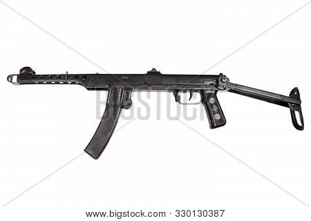 ww2 submachine gun isolated on a white background poster