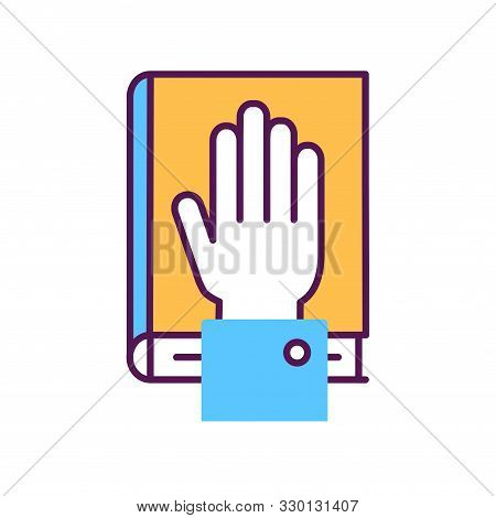 Give Oath Line Color Icon. Palm On Holy Bible. Judiciary Concept. Sign For Web Page, Mobile App, But