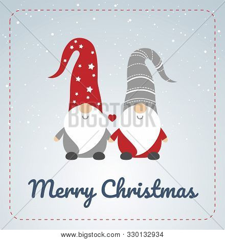Christmas Card With Scandinavian Gnomes Couple. Happy Cute Little Gnomes In Red And Grey Hats, Holdi