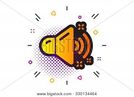 Music Sound Sign. Halftone Circles Pattern. Loud Sound Icon. Musical Device Symbol. Classic Flat Lou