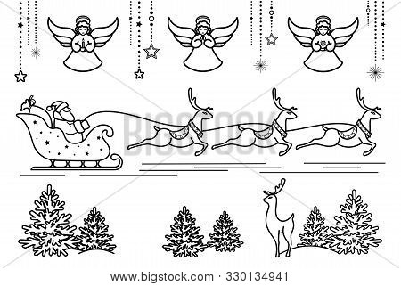 Santa Claus On Sleigh With Reindeer. Christmas Angels, Garlands And Decorations.  Merry Christmas An