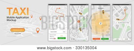 Taxi Mobile Application, Call A Car Online. Ui, Ux, Kit App. Mobile Phone Application Taxi Service I
