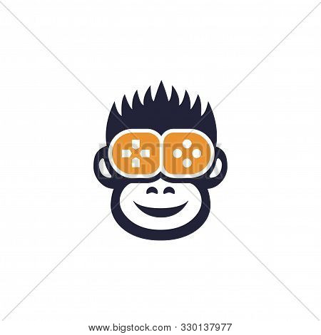 Happy Monkey Gamer Flat Icon, Animal Player And Game Joystick Vector Illustration Isolated On White