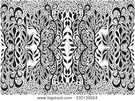 Black And White Foliage Trippy Fractal Mandala Background. Decorative Fantasy Element Flower Pattern