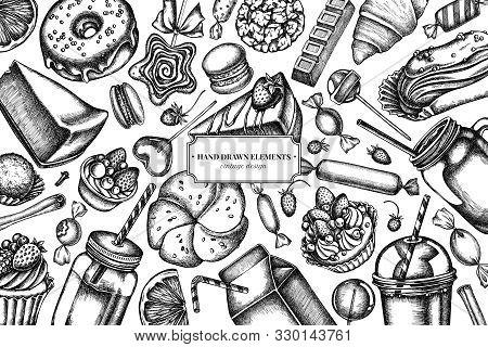 Design With Black And White Cinnamon, Macaron, Lollipop, Bar, Candies, Oranges, Buns And Bread, Croi