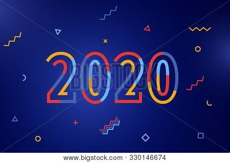 Happy New Year 2020. Greeting Card With Inscription Happy New Year 2020. Memphis Geometric Bright St