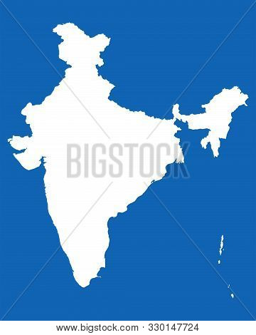 India Map With Boundaries Vector Illustration Graphics Design. Blue, White.