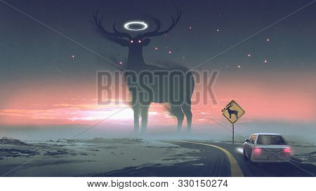 A Legendary Creature Concept Showing A Car Running Into Animal Zone, The Giant Deer With Glowing Hal