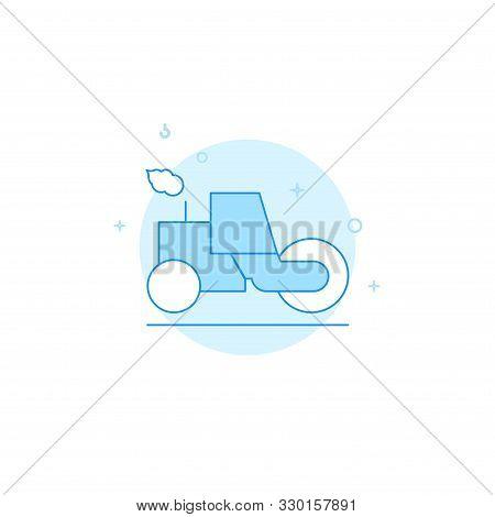 Asphalt Compactor Or Roller Vector Icon. Flat Illustration. Filled Line Style. Blue Monochrome Desig