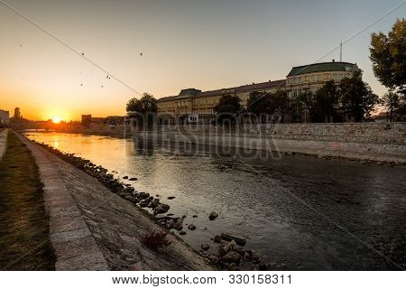 Nis, Serbia - May 3, 2019: Serbian City If Nis With Fortress And University Building, At Banks Of Ni