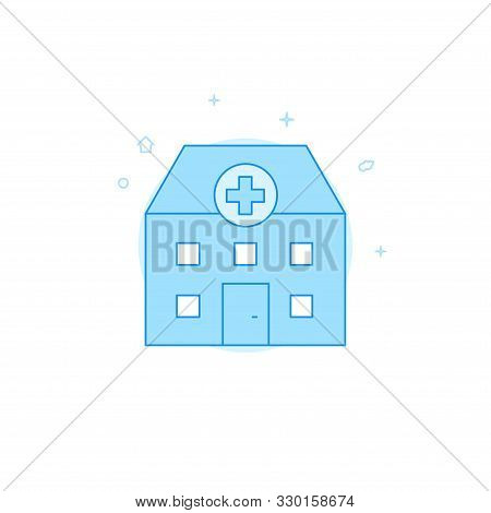 Hospital, Infirmary, Medical Station Vector Icon. Flat Illustration. Filled Line Style. Blue Monochr