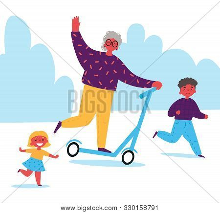 Grandmother Rides A Scooter With Her Grandchildren.children Spend Time With Their Grandmother.lifelo