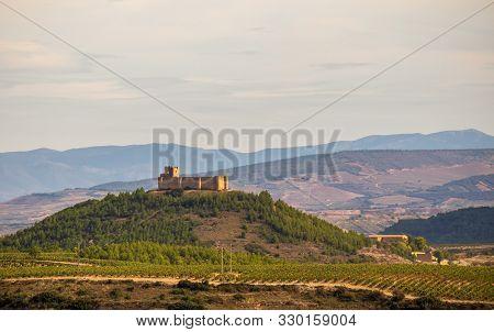 Beautiful Landscape With Castillo Fortaleza De San Vicente De La Sonsierra. La Rioja, Spain.