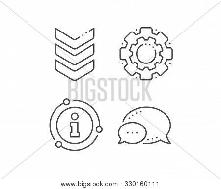 Shoulder Strap Line Icon. Chat Bubble, Info Sign Elements. Army Reward Sign. Best Rank Symbol. Linea