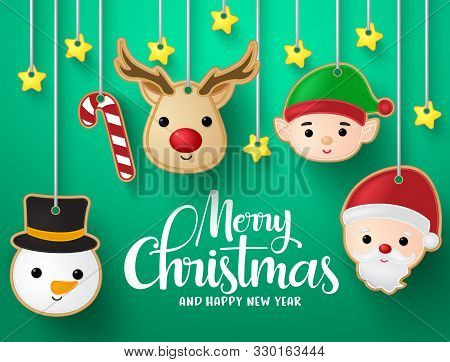 Christmas Hanging Elements Vector Background Design. Merry Christmas Greeting Typography Text With R