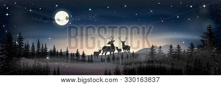 Landscapes Winter Wonderland,vector Cartoon Of Santa Sleigh And Reindeers Flying Over Full Moon, Rei
