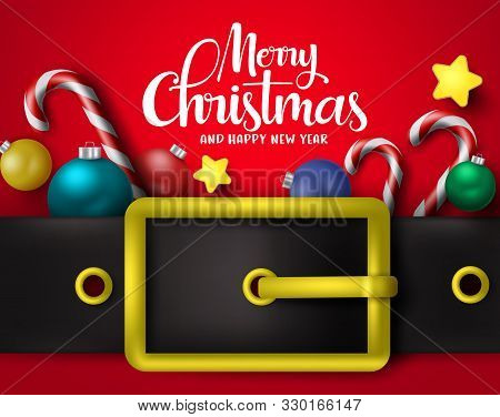 Merry Christmas Greeting With Big Belt Vector Background Design. Merry Chirstmas Typography Text Wit