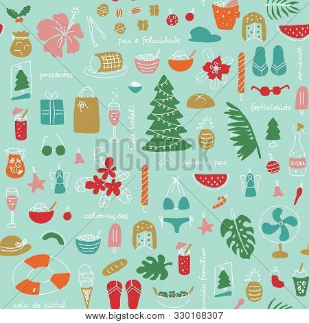 Latin American Summer Christmas In Brasil,with Text In Portuguese.seamless Pattern.