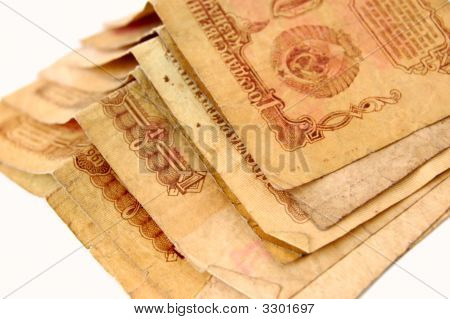 set of old soviet 1 rouble banknotes poster