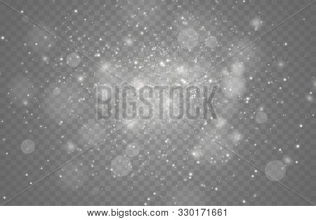 The White Dust Sparks And Golden Stars Shine With Special Light. Vector Sparkles On A Transparent Ba