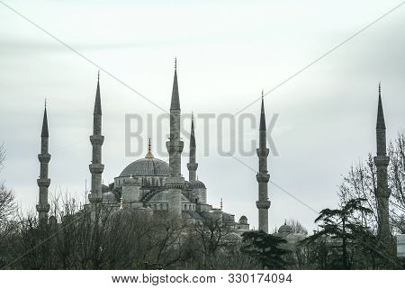 Landscape Of Sultanahmet Camii During A December Grey Morning In Istanbul, Turkey. Also Called Blue