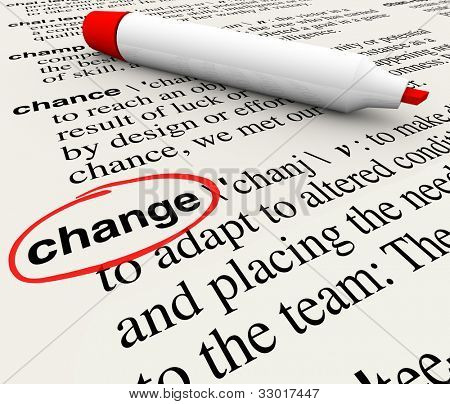 A dictionary page with the word change circled to define the term as adapting and evolving to conditions that require shifting your perspective or actions to survive and thrive poster