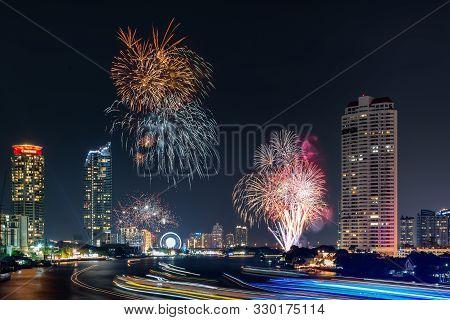 Beautiful Of Fireworks Anniversary New Year Celebration With Cityscape Scenery Of Bangkok City, Thai