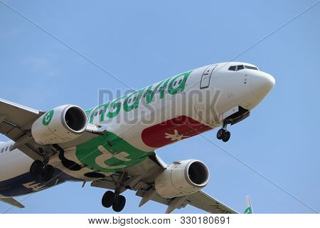 Amsterdam The Netherlands - July 22nd 2018: Ph-hsk Transavia Boeing 737-800 Final Approach To Schiph