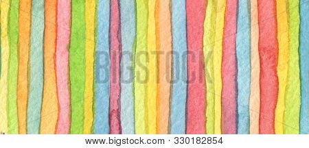 Abstract rainbow acrylic and watercolor strip line paint background. Texture paper. Horizontal long banner.