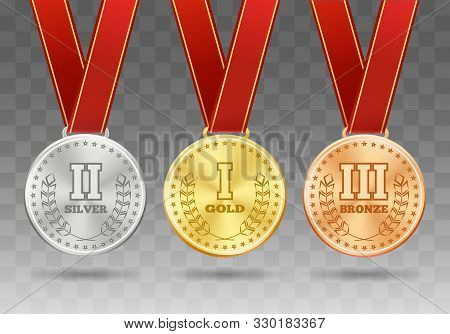 Sport Medals On Ribbons On Transparent. Medal Awards Vector Illustration, Gold Silver And Bronze Rew