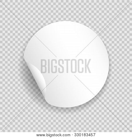 Round Blank Sticker Template. Circle White Emblem With Peeling Curl, Vector Circular Empty Tag With