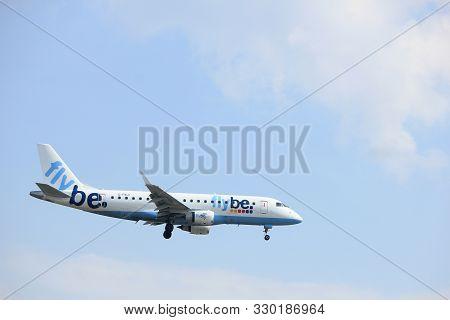 Amsterdam, The Netherlands - March 31st, 2017: G-fbji Flybe Embraer Erj-175 Approaching Polderbaan R