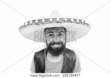 Celebrate Traditional Mexican Holiday. Mexican Party Concept. Guy Happy Cheerful Festive Outfit Read