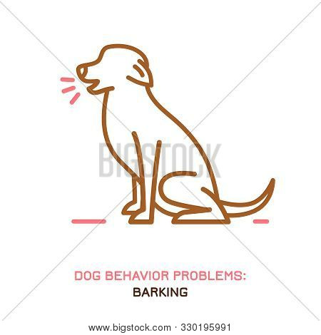 Dog Behavior Problem Icon. Domestic Animal Or Pet Language. Yapping Dog. Loud Barking. Doggy Reactio