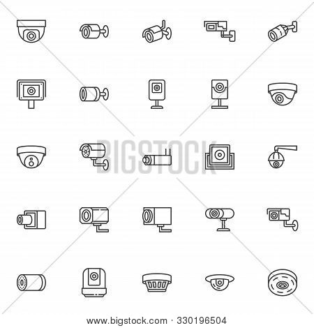 Cctv Camera Line Icons Set. Linear Style Symbols Collection, Outline Signs Pack. Vector Graphics. Se