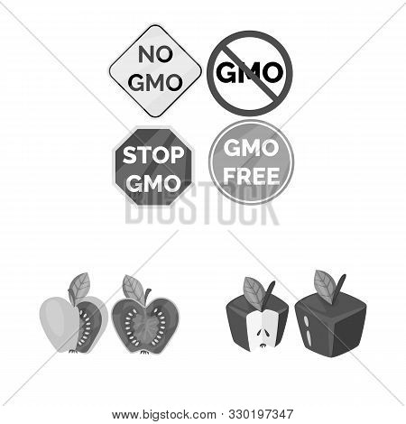 Isolated Object Of Transgenic And Organic Sign. Set Of Transgenic And Synthetic Stock Symbol For Web