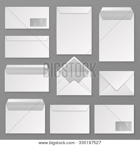 Envelopes. Blank Corporate Closed And Open Envelope For A4 Letter Sheet. Paper Postal Packages, Mail