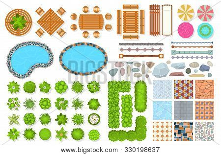 Top View Park Items. Public Furniture Outdoor Relaxing Chair, Bench And Umbrella. Gardens Trees And