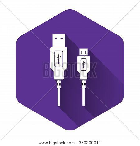 White Usb Micro Cables Icon With Long Shadow. Connectors And Sockets For Pc And Mobile Devices. Comp