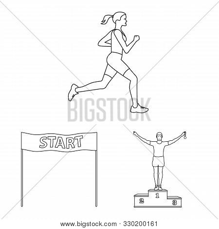 Vector Illustration Of Exercise And Sprinter Logo. Set Of Exercise And Marathon Stock Vector Illustr