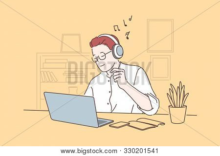 Work Pause, Take Break Concept. Office Worker Listening To Music, Young Man Working On Laptop In Hea