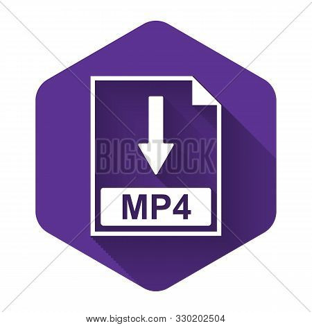 White Mp4 File Document Icon. Download Mp4 Button Icon Isolated With Long Shadow. Purple Hexagon But