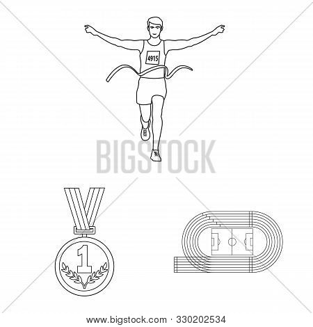 Vector Design Of Exercise And Sprinter Symbol. Set Of Exercise And Marathon Vector Icon For Stock.
