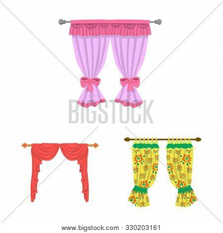 Isolated Object Of Lambrequin And Drapery Sign. Collection Of Lambrequin And Decoration Stock Vector